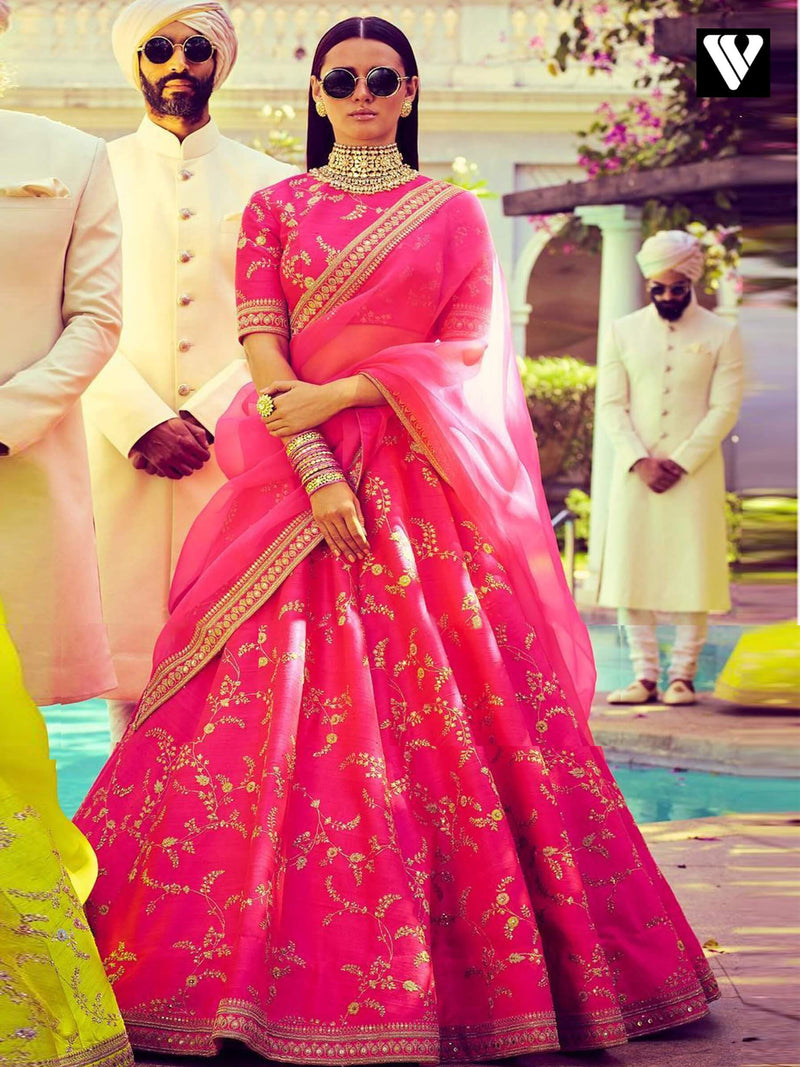 Hotpink Rajwadi Wedding Design Heavy Work Embroidered Lehenga