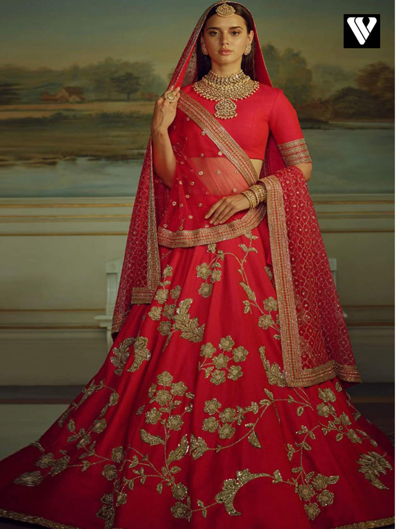 Bridal Designer Red Embroidery Malai Satin Lehenga