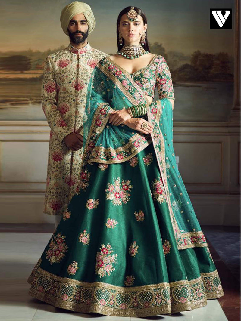 Heavy Embroidered Work Teal Green Designer Wedding Lehenga
