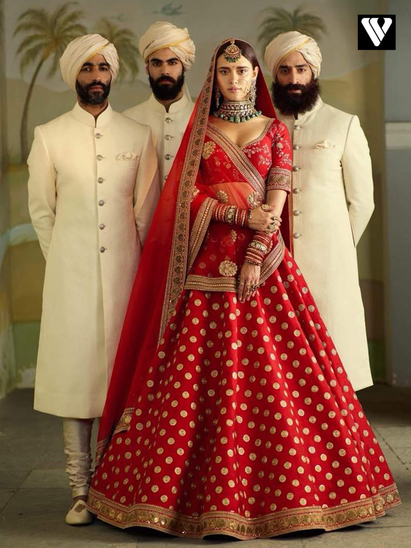Designer Rajwadi Bridal Look Embroidered Red Wedding Lehenga