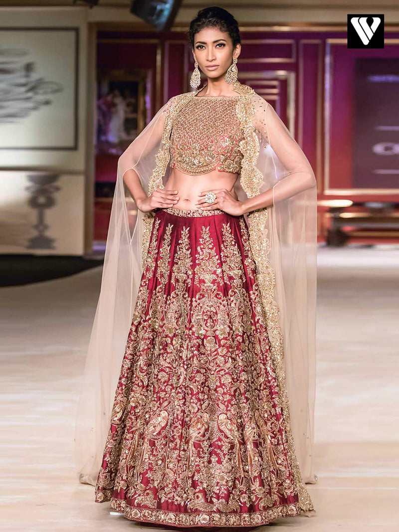 Designer Heavy Embroidery Work Cherry Red Wedding Lehenga