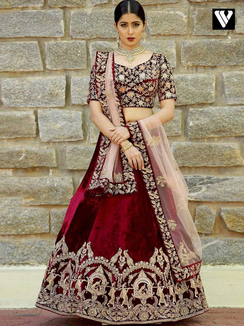 Deaigner Velvet Fabric Embroidery Maroon Wedding Lehenga