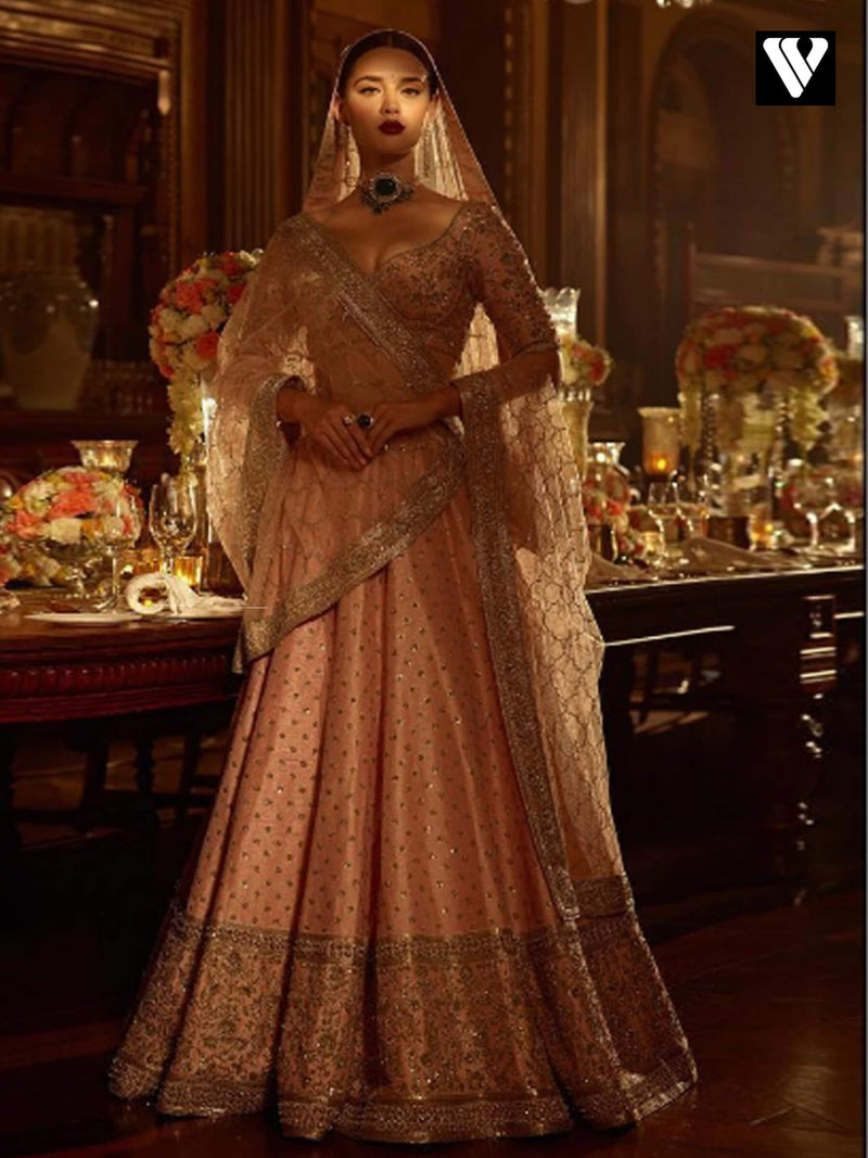 Rajwadi Design Collection Rose Peach Wedding Lehenga
