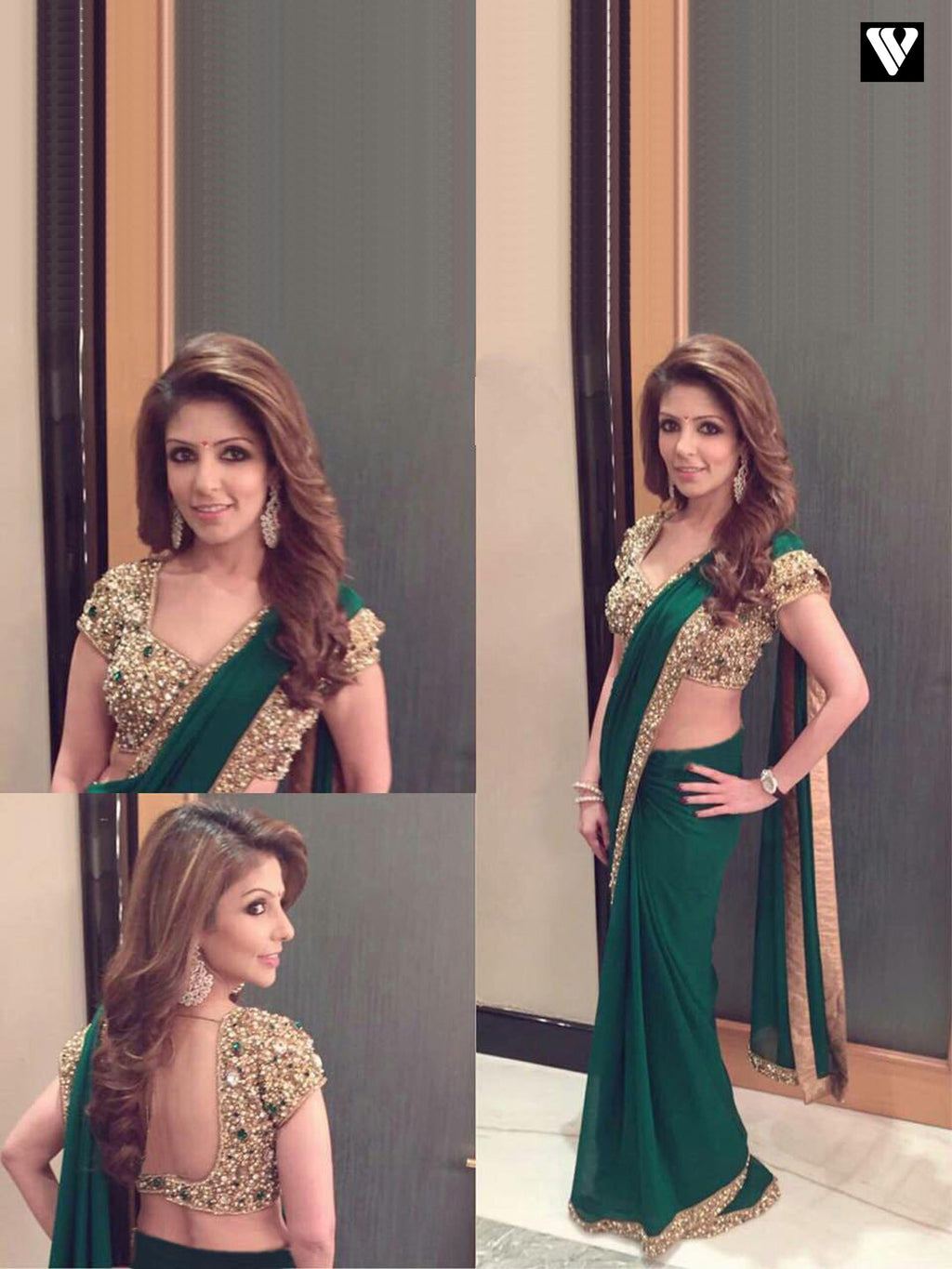 Nice Design Embroidery Work Georgette Saree In Green