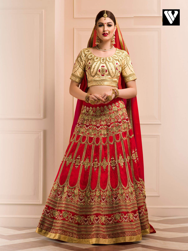 Bangalori Silk Designer Heavy Embroidery Work Wedding Lehenga