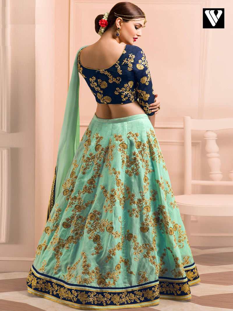 Light Green and Navy Blue Designer Bridal Wedding Lehenga
