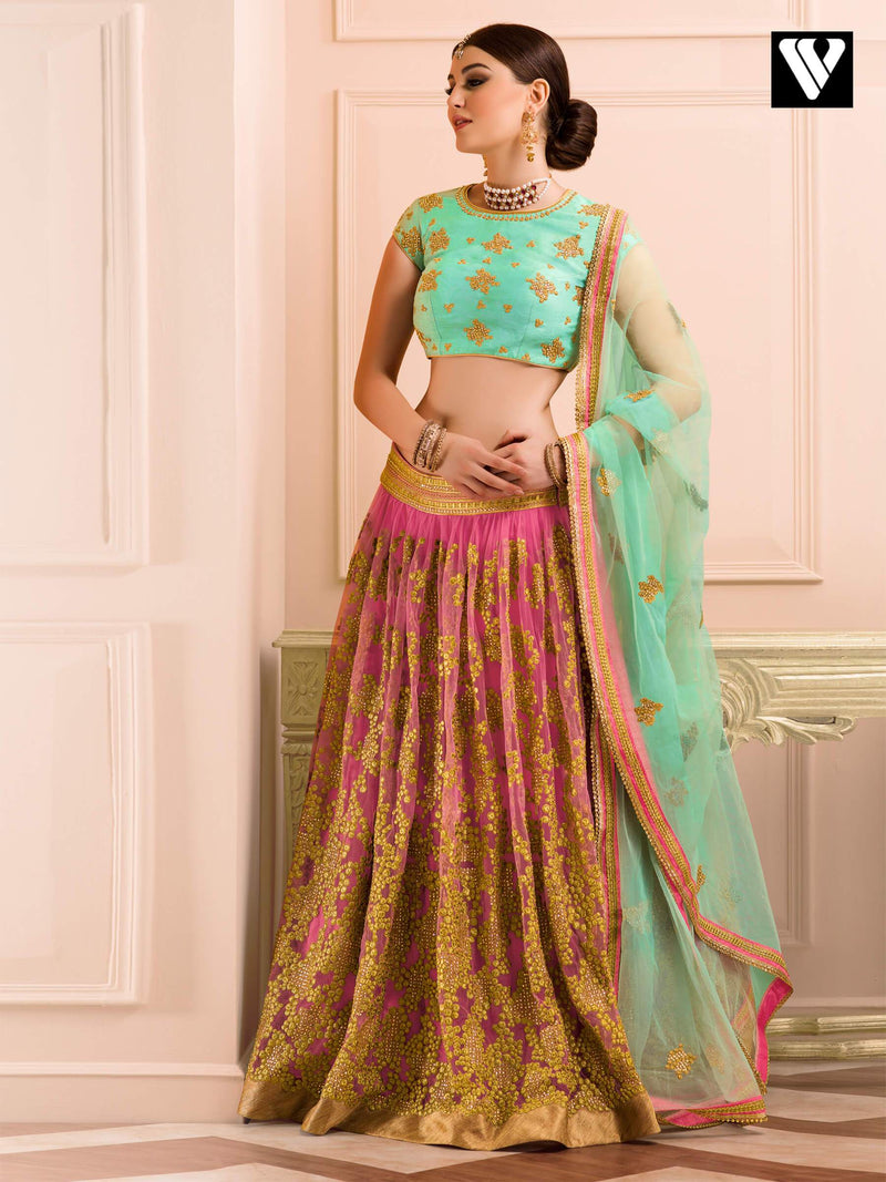 Bridal Collection Light Green and Pink Bangalori Fabric Wedding Lehenga