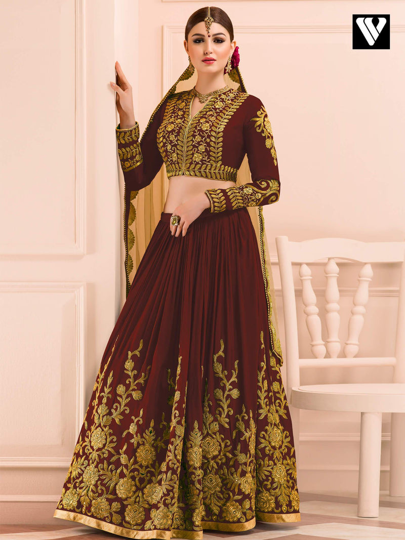 Designer Bridal Collection Mudal Silk Maroon Wedding Lehenga