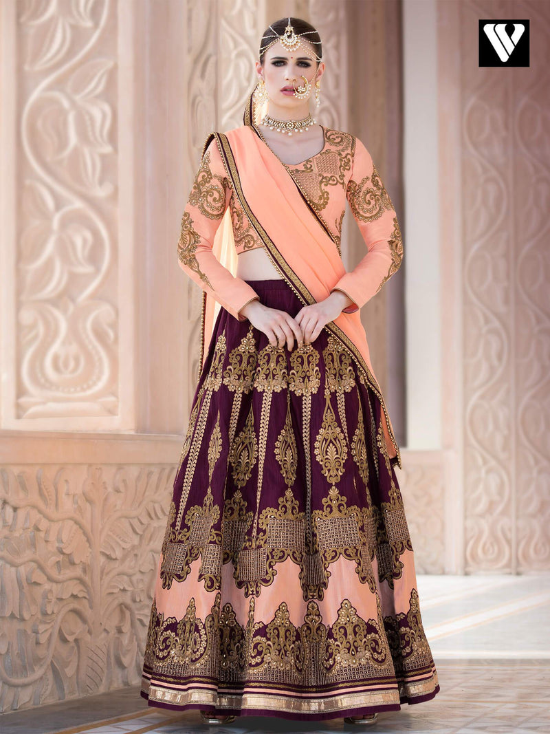 Heavy Embroidered Silk with Santoon Lehenga