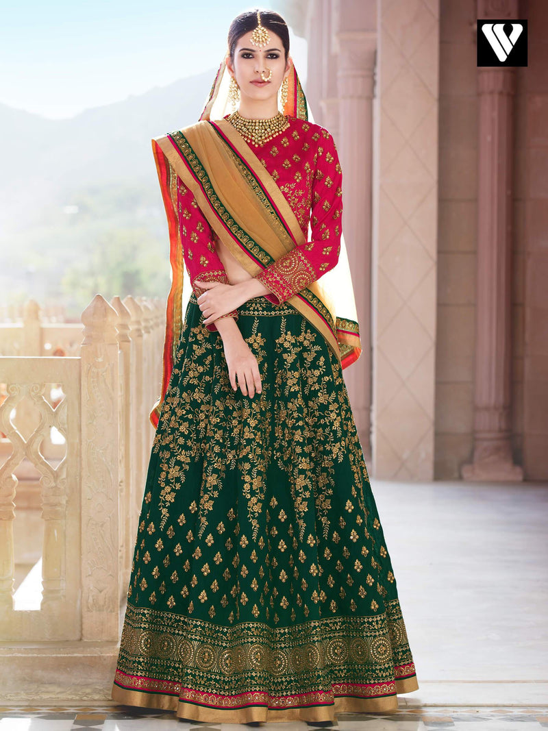 Bridal Designer Red and Green Bangalori Silk Lehenga