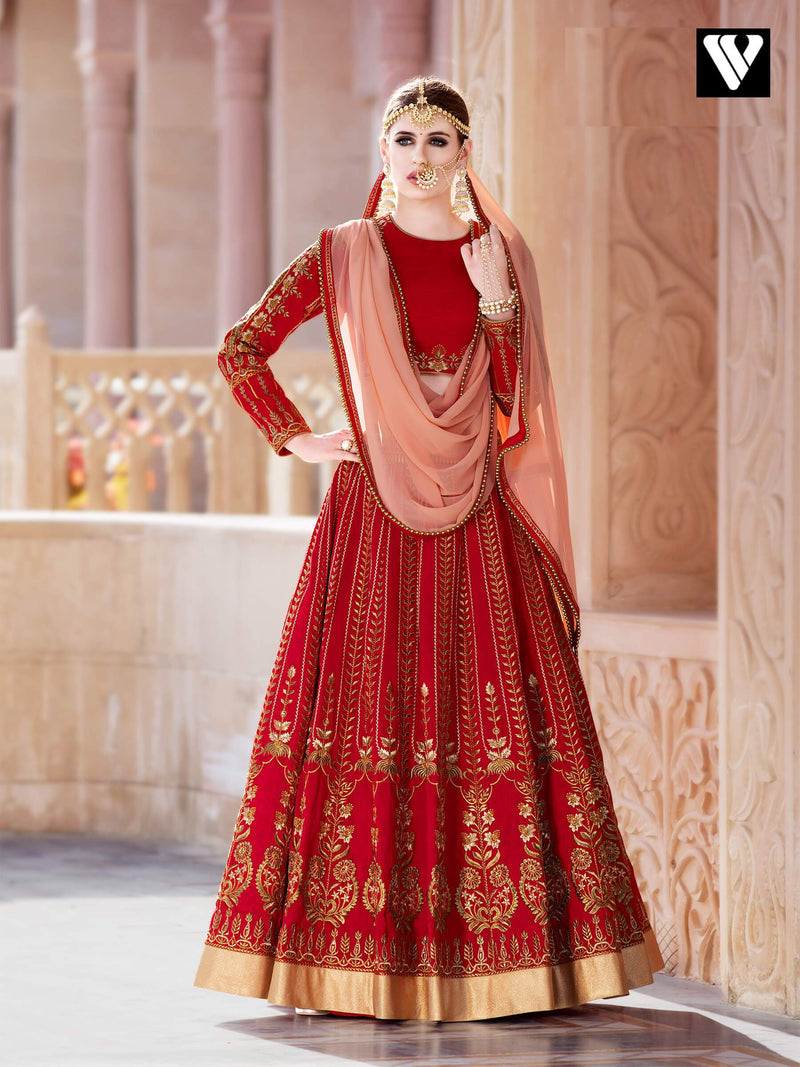 Designer Bridal Red and Peach Bangalori Silk Lehenga