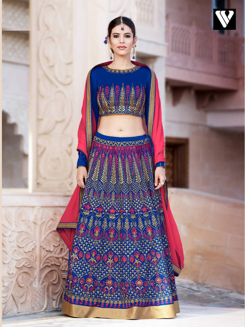 Bangalori Silk With Santoon Inner Embroidered Lehenga