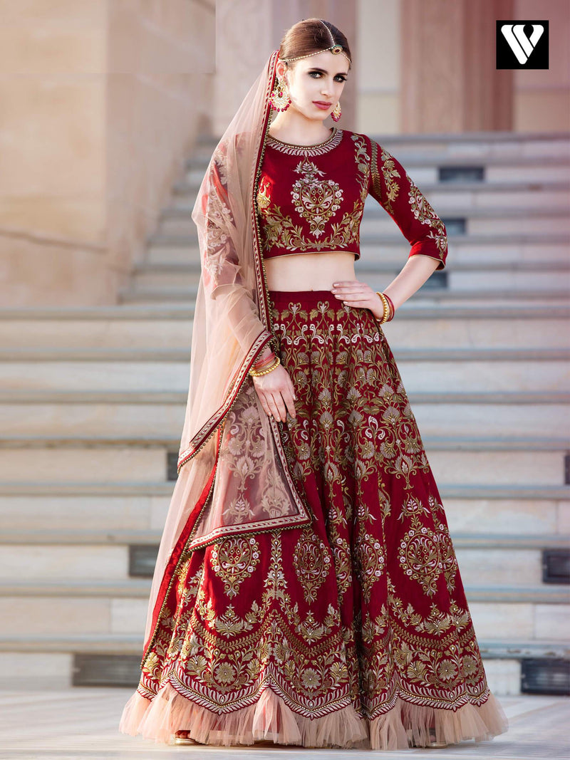 Maroon and Beige Heavy Embroidered Lehenga