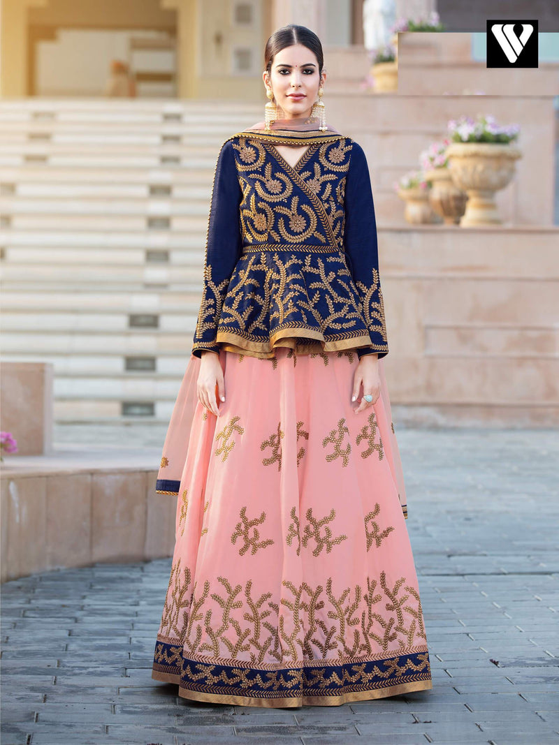 Heavy Embroidered Bridal Style Lehenga In Peach and Navy Blue