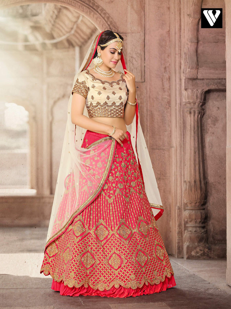 Designer Embroidered Work Style Lehenga In Red and Bolden