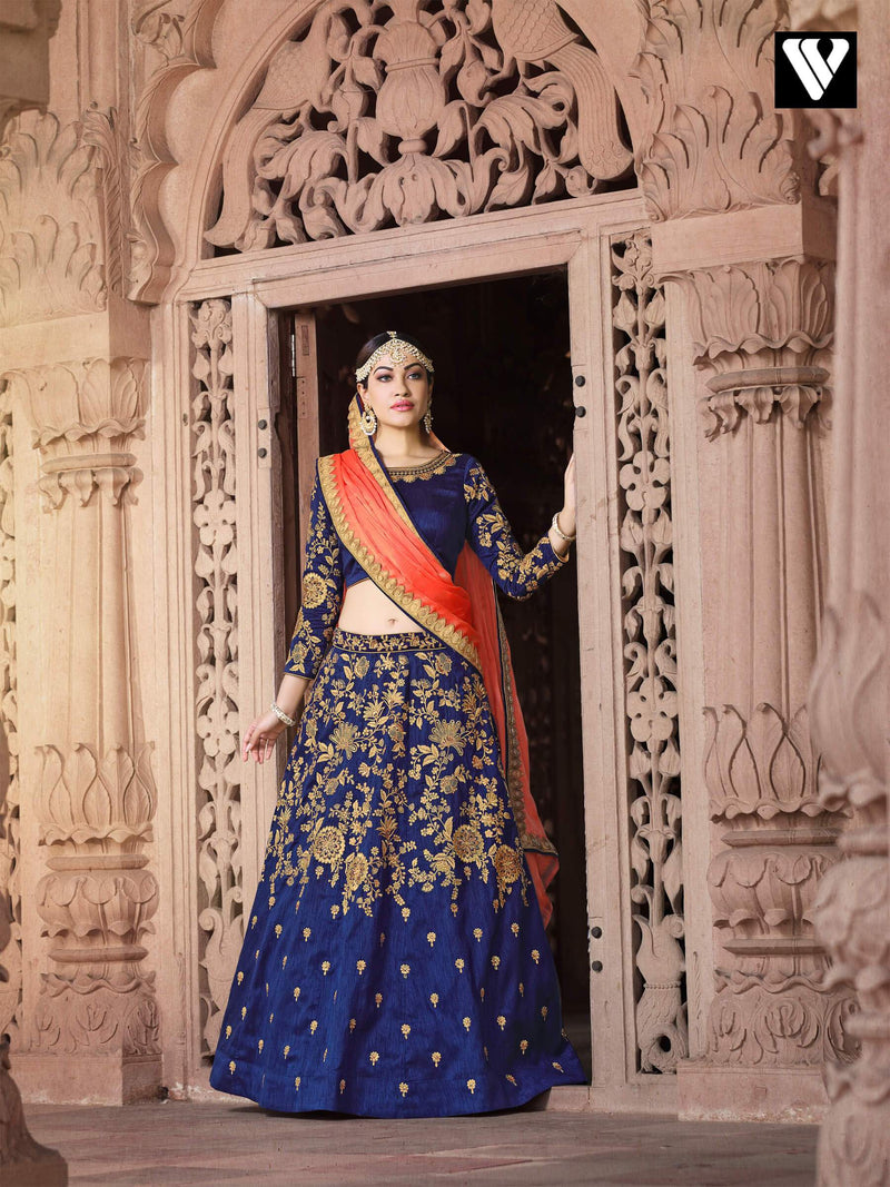 Bangalori Fabric with Blue and Peach Color Bridal Lehenga