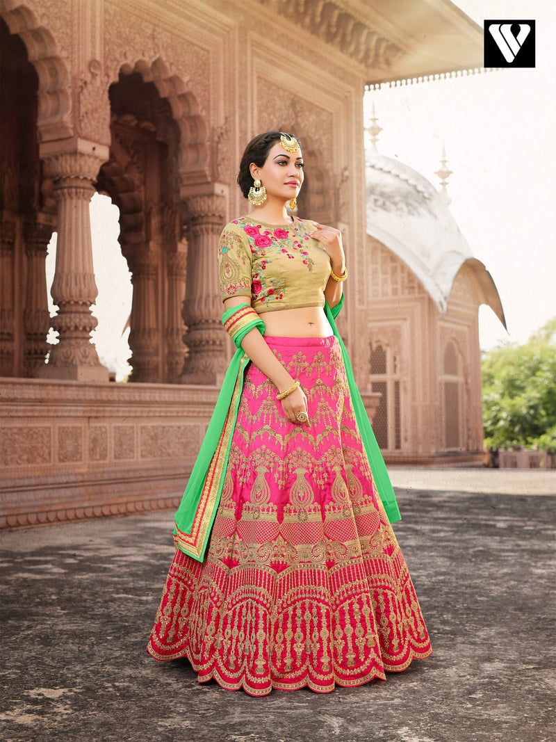 Pure Banarasi Fabric with Pink Golden Color Designer Wedding Lehenga