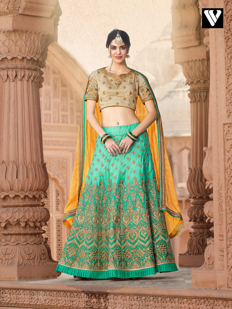 Latest Embroidery Work Style With Pure Banarasi Lehenga