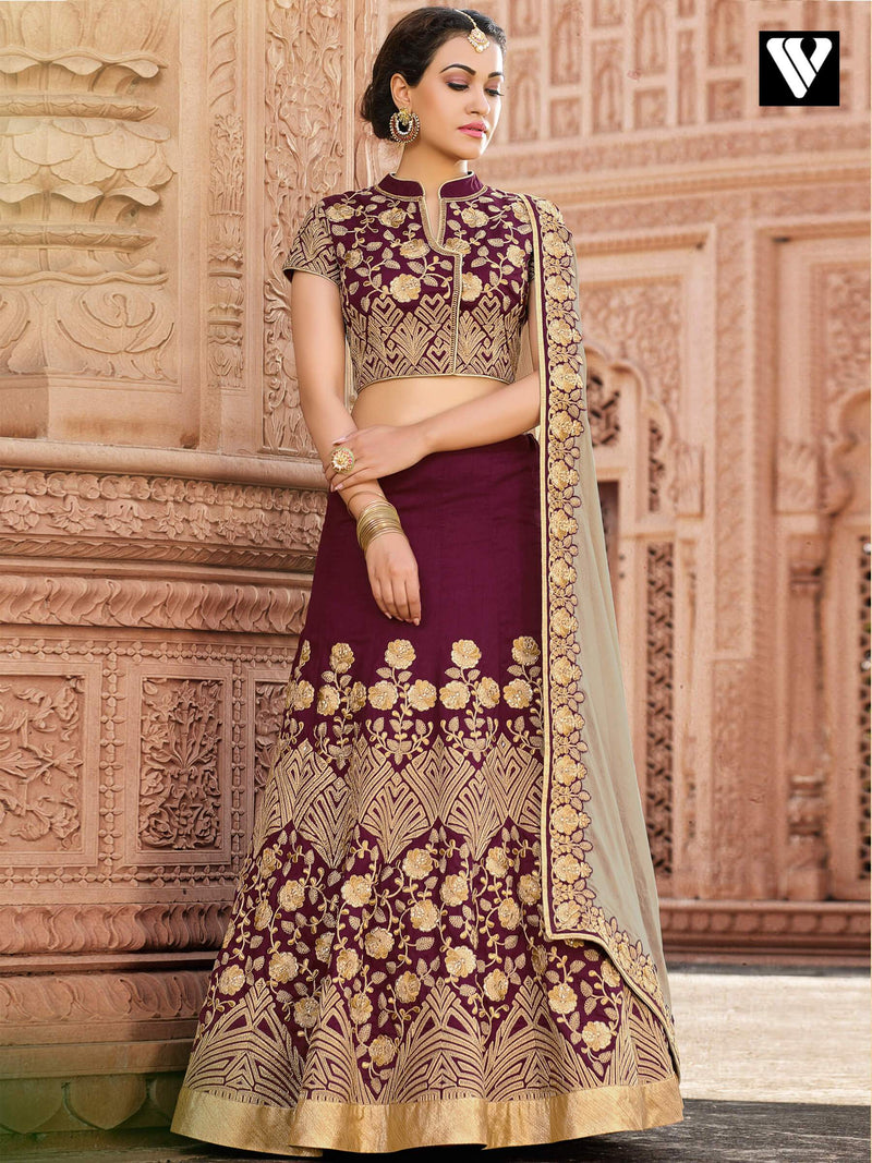 Designer Bridal Style Heavy Embroidered Lehenga in Maroon