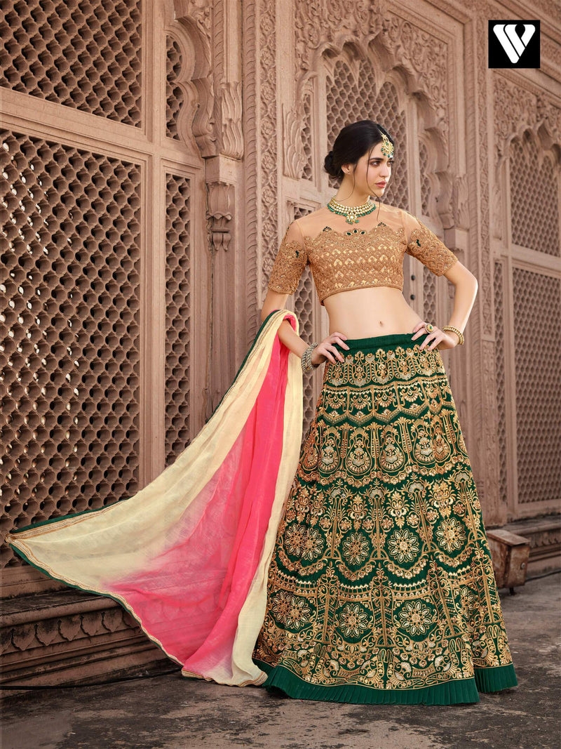 Heavy Embroidered Work Bridal Style Lehenga in Dark Green