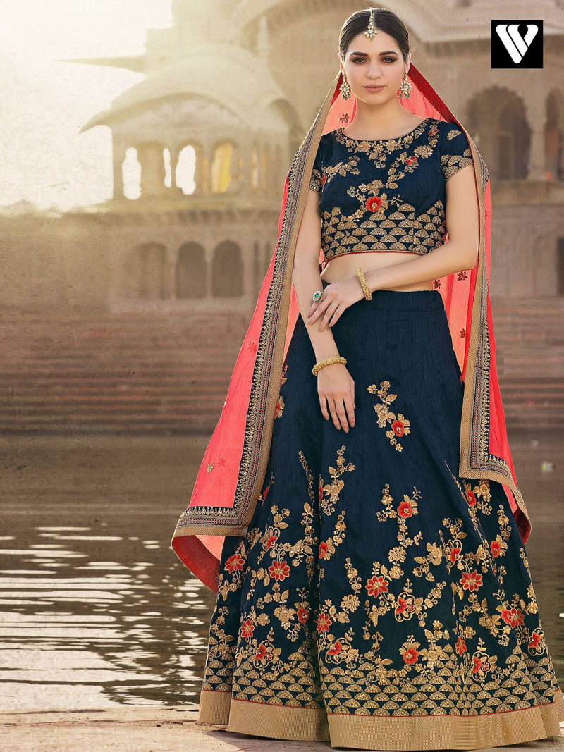 Wedding Collection Bridal Style Bangalori Lehenga In Dark Blue