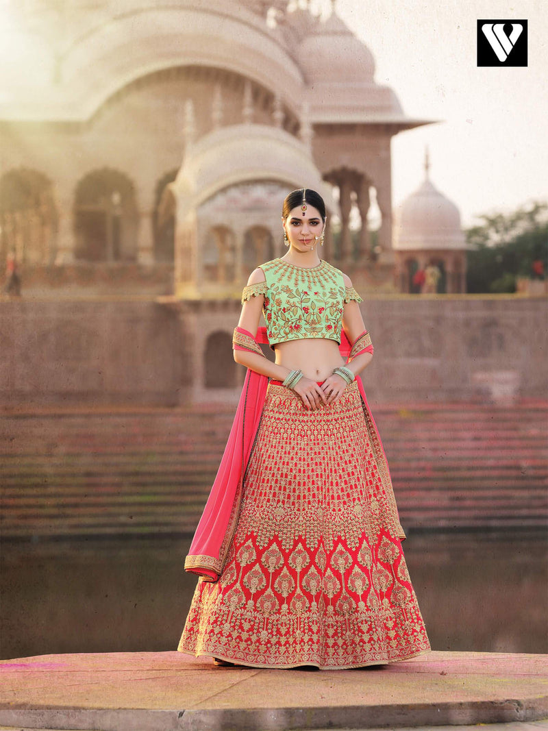 Wedding Collection Bridal Style Bangalori Lehenga In Pink