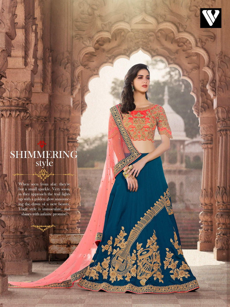 Embroidered Work Designer Crep Silk Lehenga In Dark Sky Blue