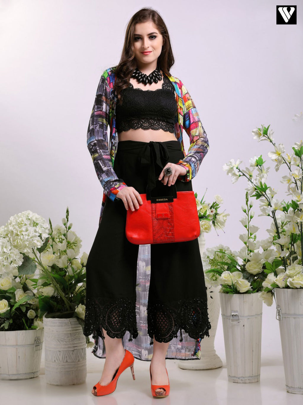 Designer Perl Tassel Lace Work Palazzo Pants In Black