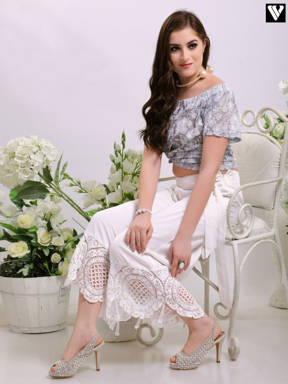 Casual Wear Perl Tassel Lace Work Palazzo Pants in Off White