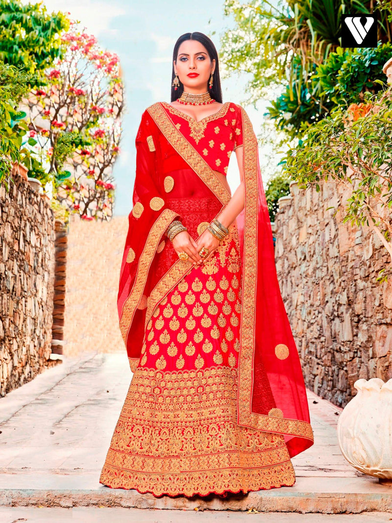 Designer Red Satin Silk Net Embroidered Reception Lehenga