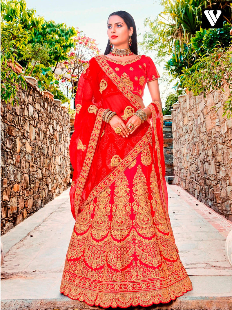 Wedding Designer Red Satin Silk Embroidered Lehenga