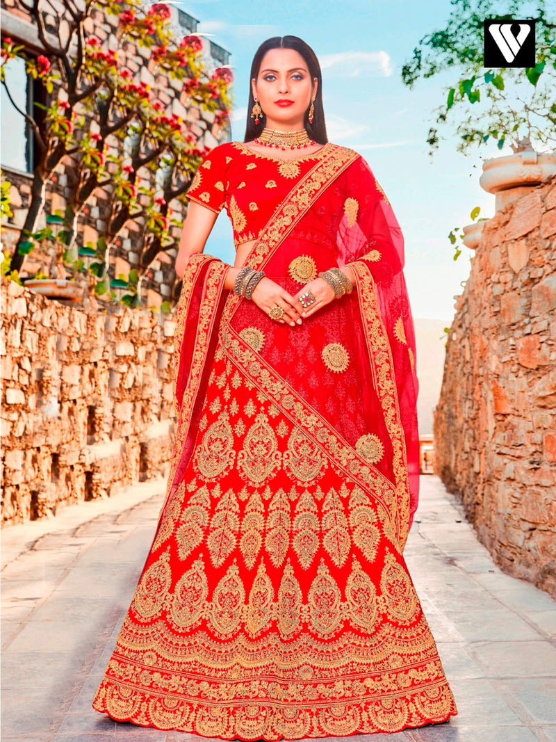 Latest Design Red Satin Silk Embroidered Lehenga