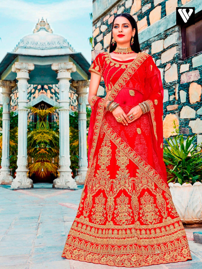 Red Designer Satin Silk Embroidered Lehenga