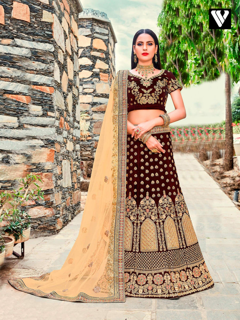 Maroon and Beige Velvet Embroidered Lehenga