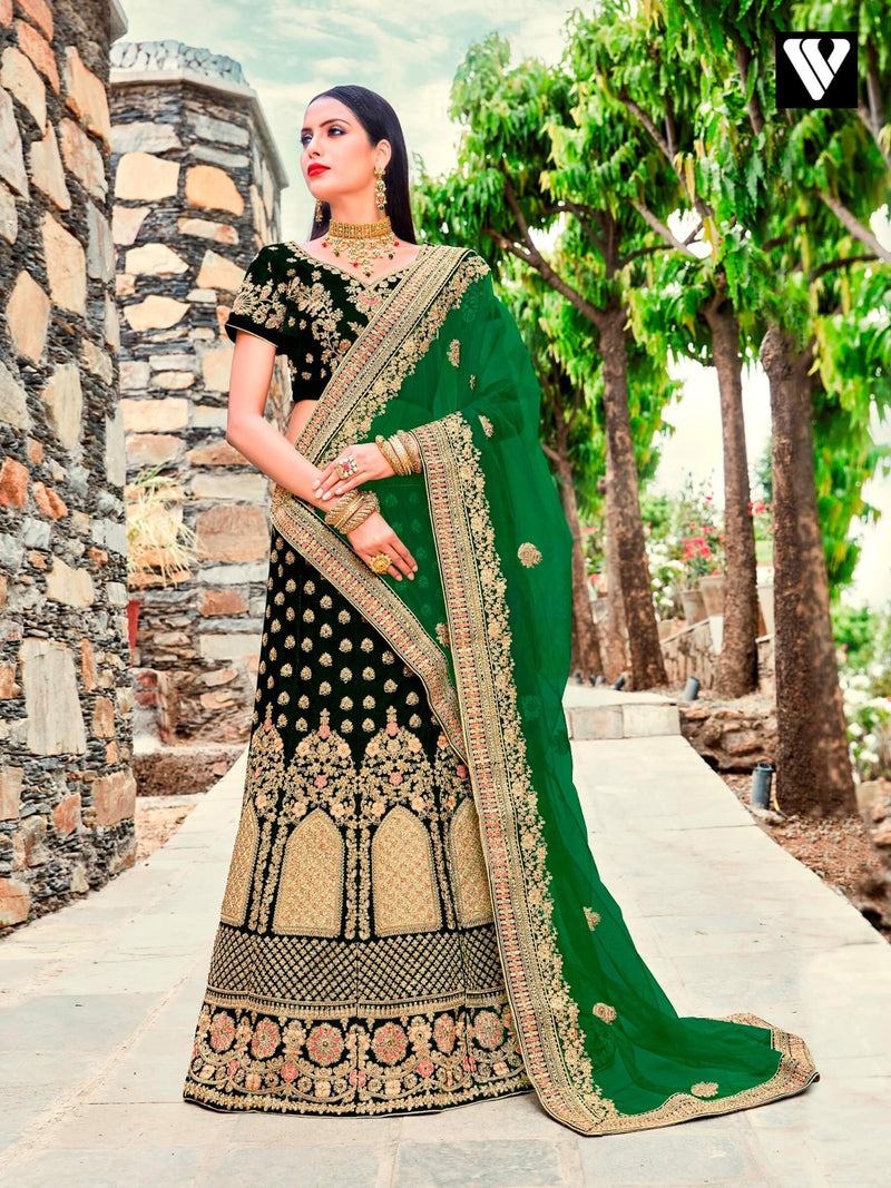 Dark Green and Green Velvet Embroidered Lehenga