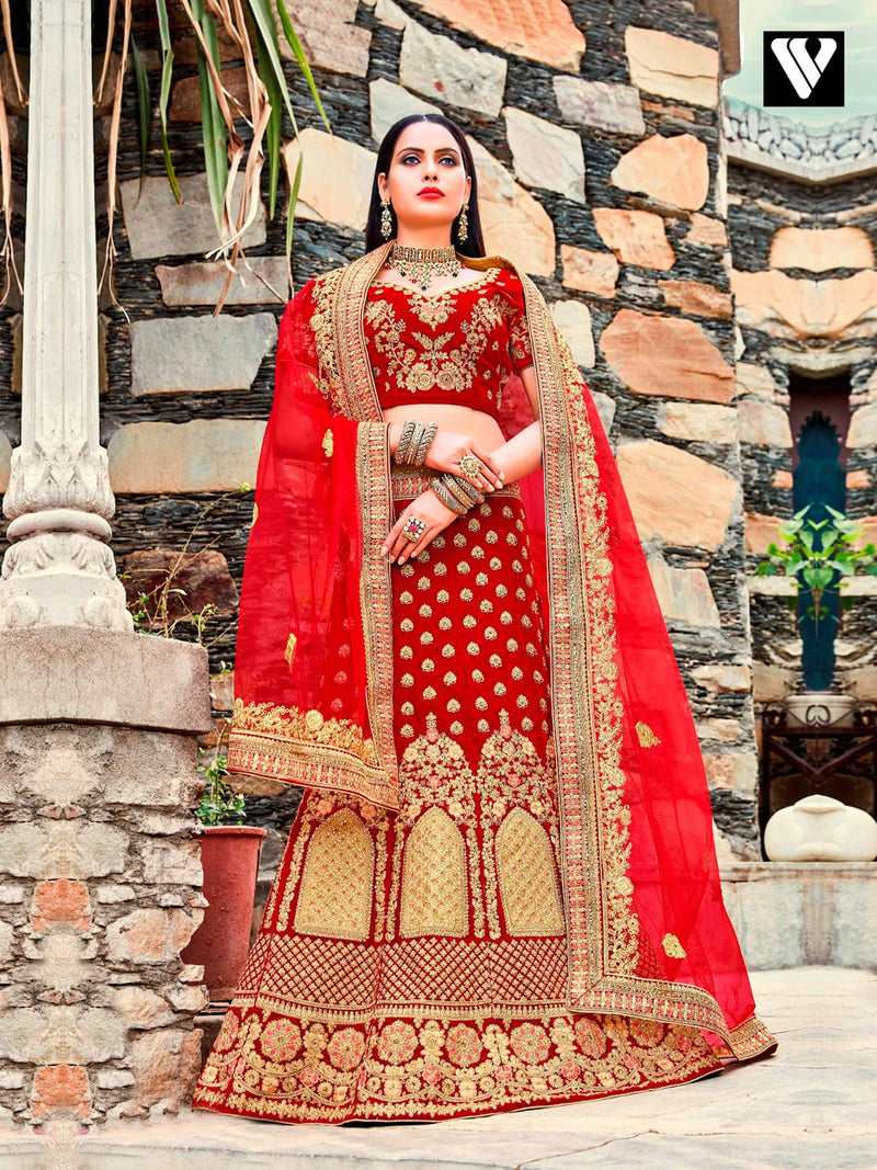 Red and Golden Embroidered Work Wedding Lehenga