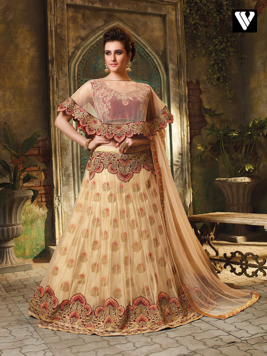 Designer Burlywood Party Wear Embroidery Work Lehenga Choli