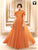 Orange Color Embroidered Embellished Gown In Jacquard Fabric