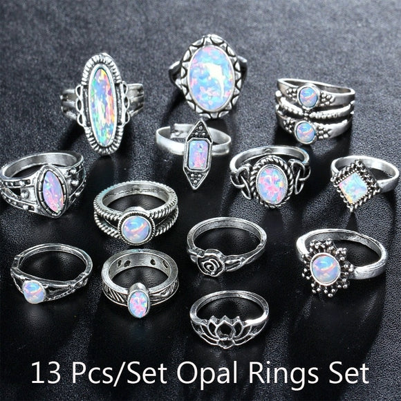 13Pcs/set 925 Fire Opal Rings