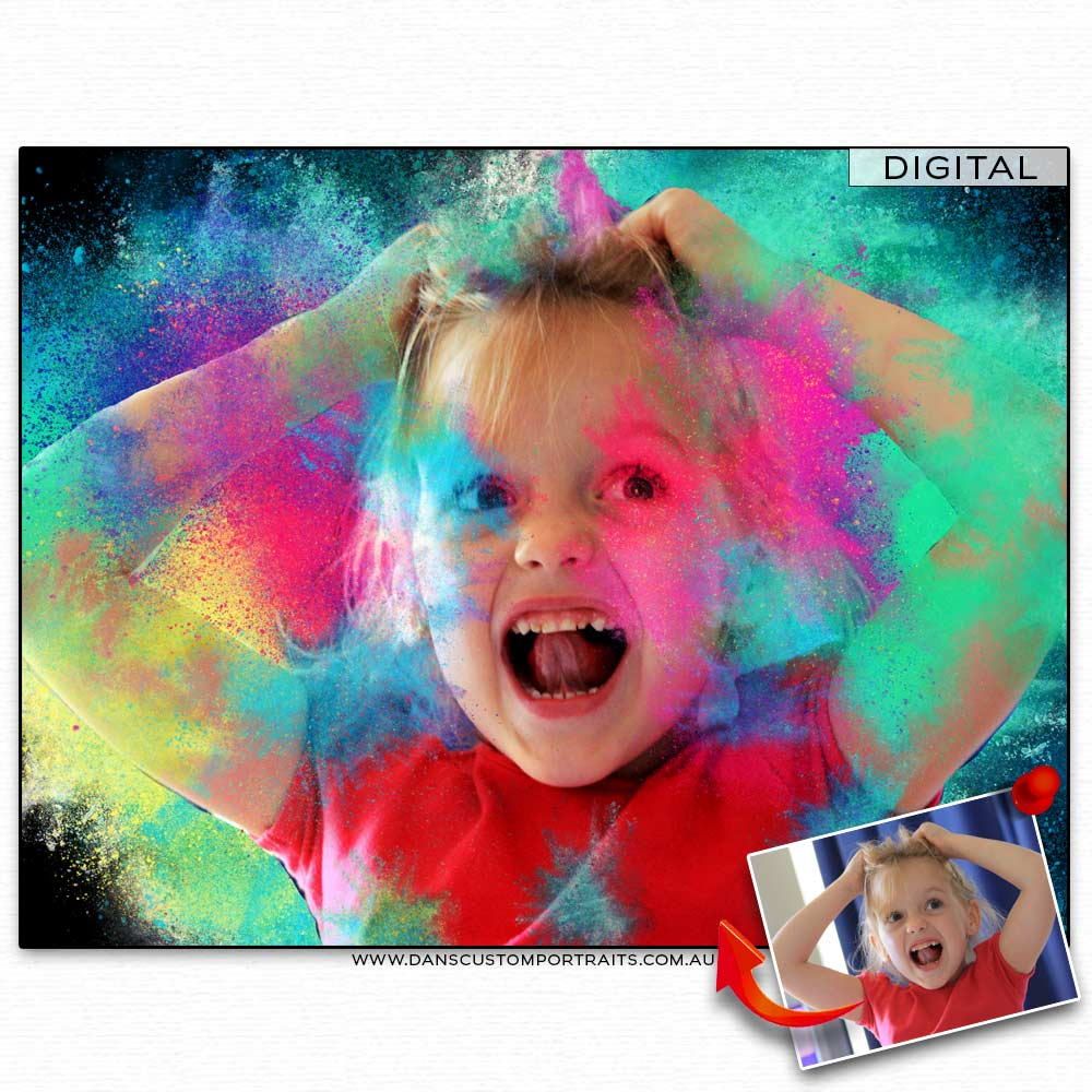 Colourful dust bomb portrait of a young girl 2 custom portrait