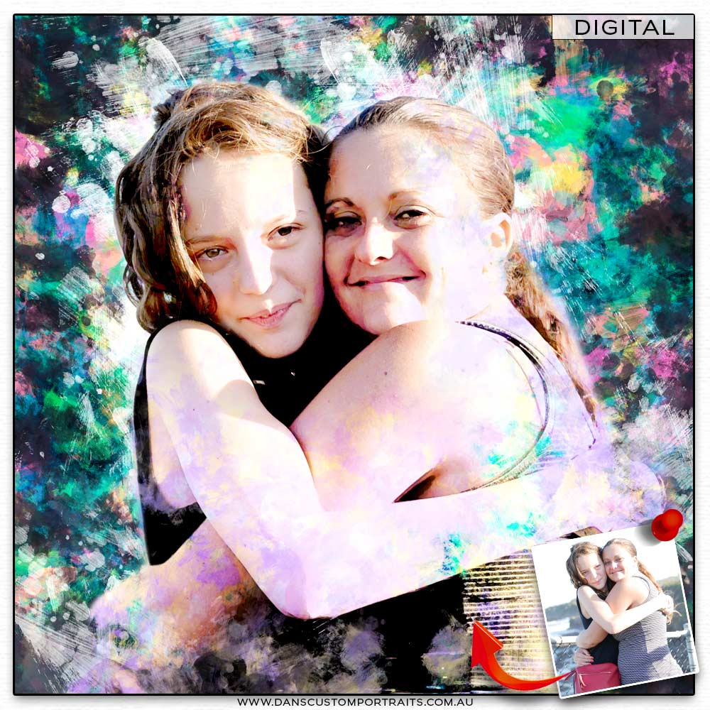 Modern vibrant pastel portrait of young girls Custom Portrait