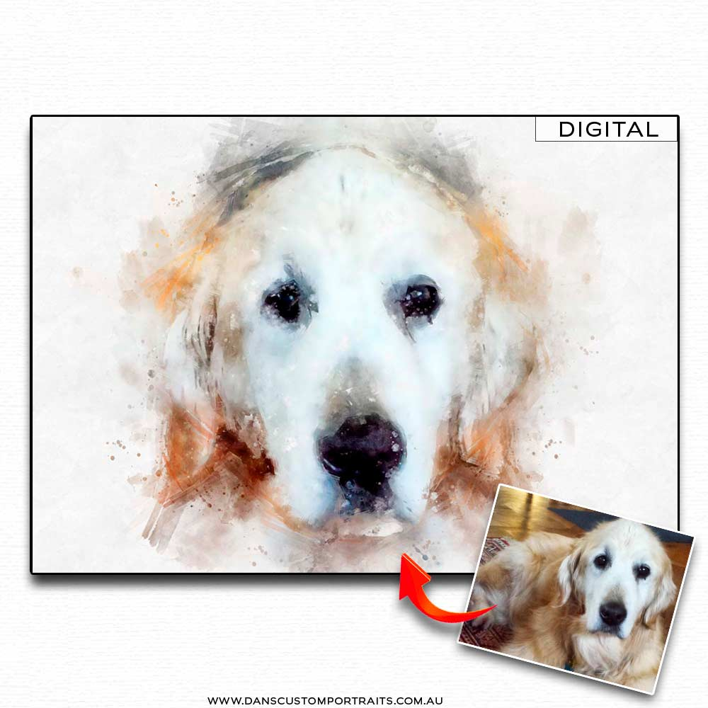 Natural Watercolour Portrait Pet Dog 2 Custom Portrait