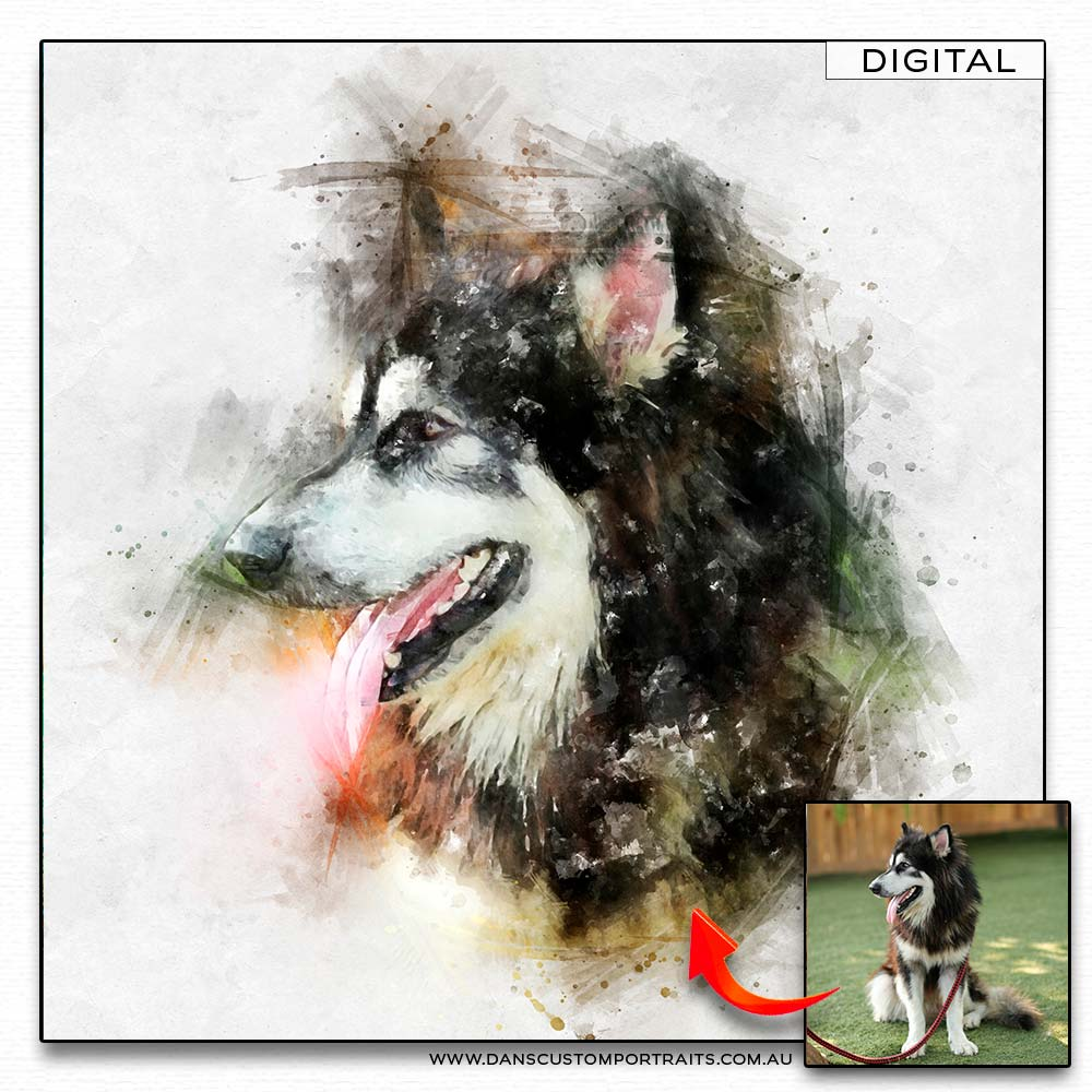 Natural Watercolour Portrait Pet Dog Custom Portrait