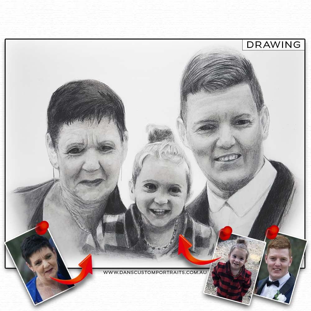 Realistic Detailed Custom Portrait Drawing Family 2