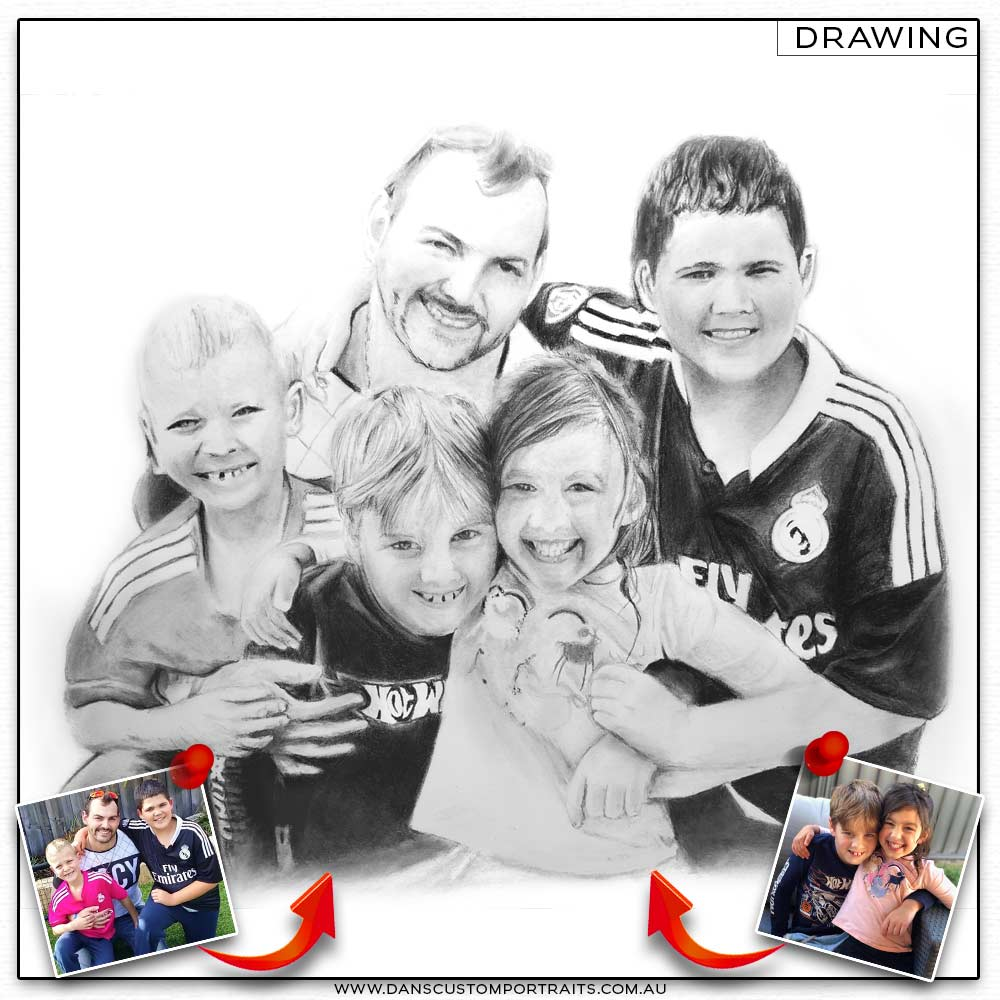 Realistic Detailed Custom Portrait Drawing Family