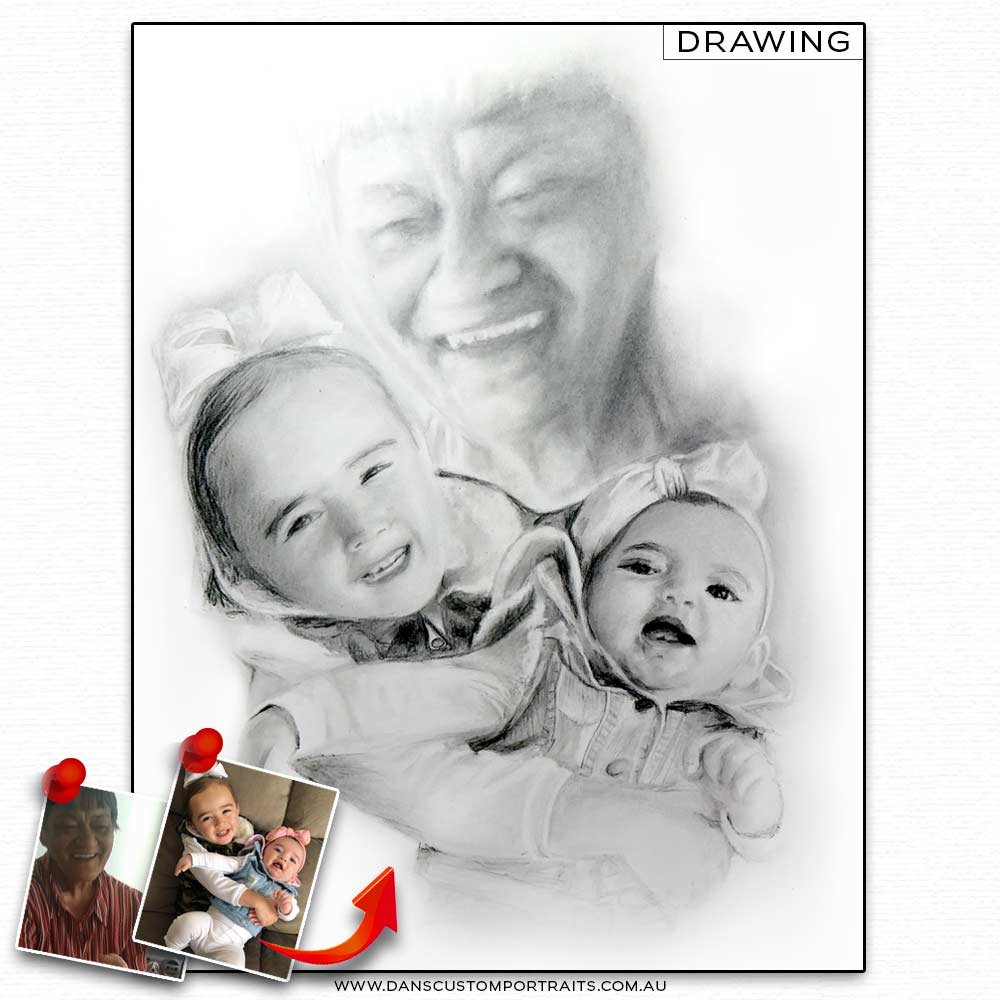 Realistic Detailed Custom Portrait Drawing Grandma Family