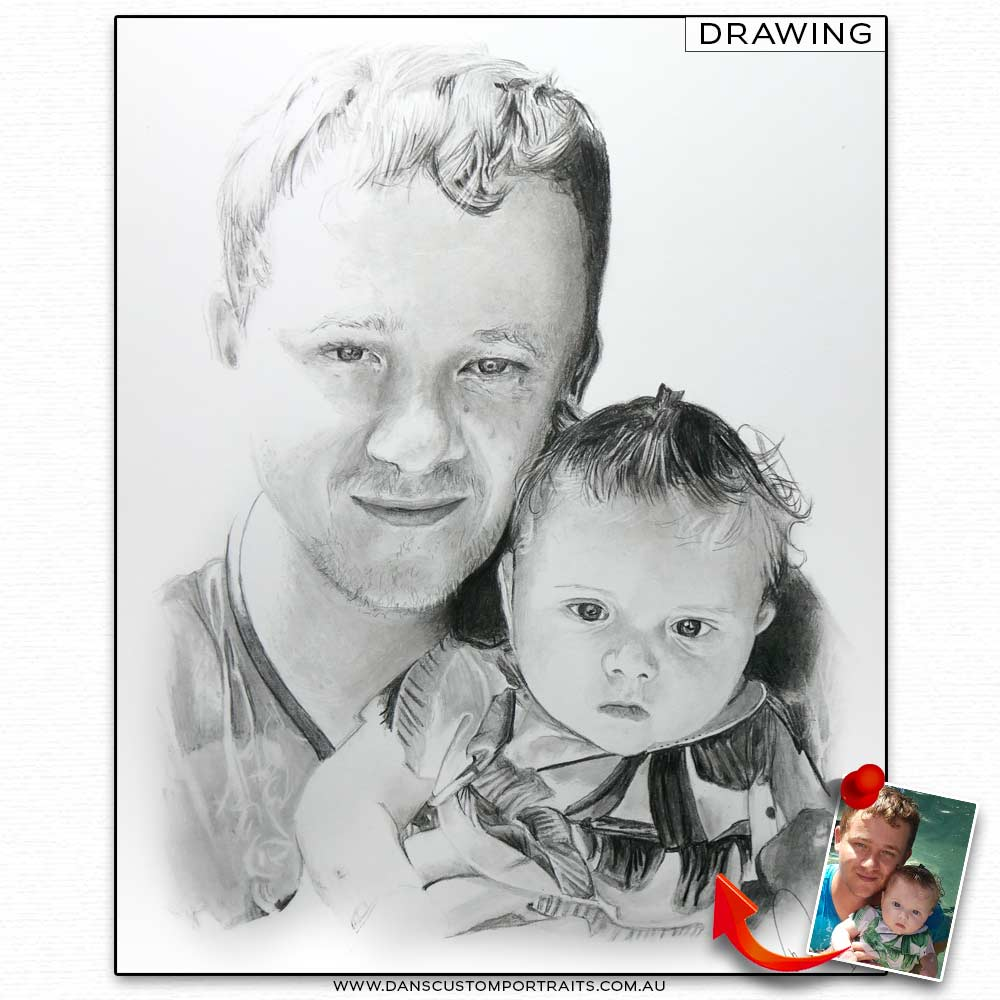 Realistic Detailed Custom Portrait Drawing Fathers Day 2