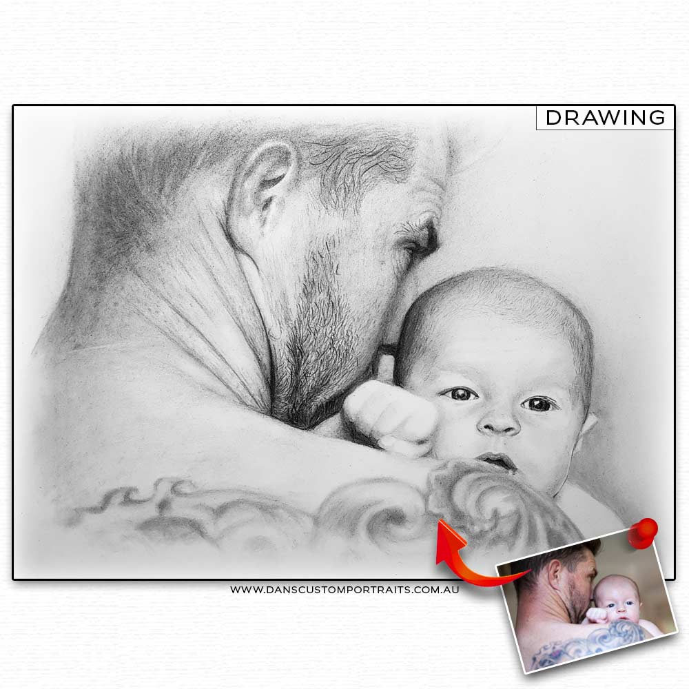 Realistic Detailed Custom Portrait Drawing Fathers Day