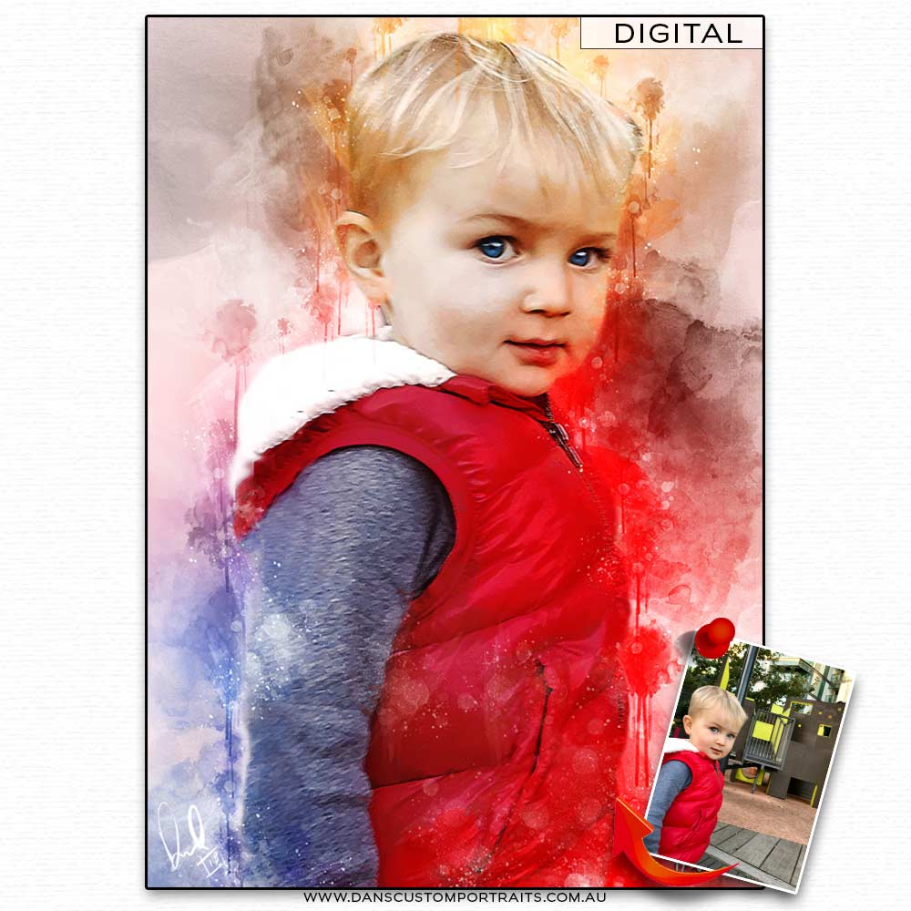 Vibrant Artistic Watercolour Portrait Boy Son Custom Portrait