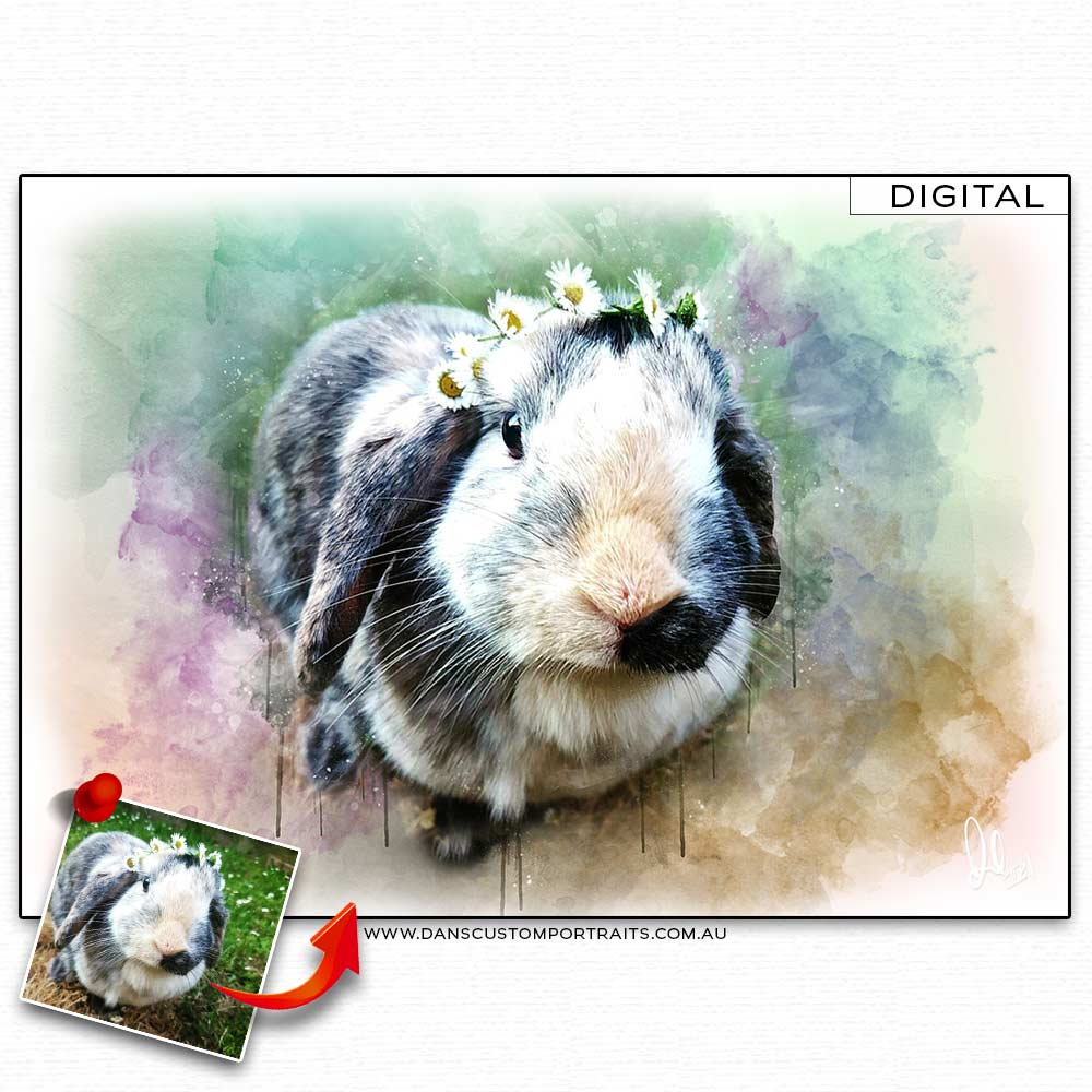 Vibrant Artistic Watercolour Portrait Pet Guinea Pig  Custom Portrait